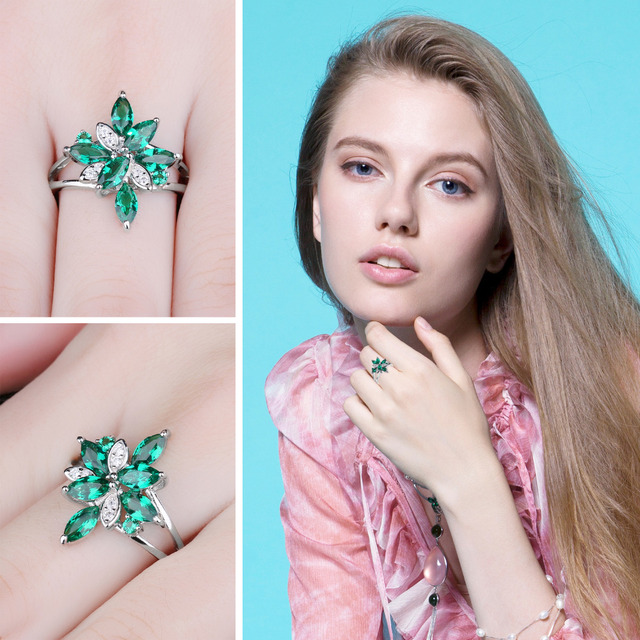 JewelryPalace Flower Shape 1.3ct Created Green Emerald Cocktail Ring Real 925 Sterling Silver Fine Jewelry for Women On Sale