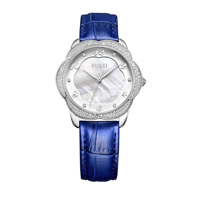 BUREI 3028 Suisse montre femmes de luxe Russe Extrême-Orient Diamant Perle shell surface Dames ceinture quartz montre