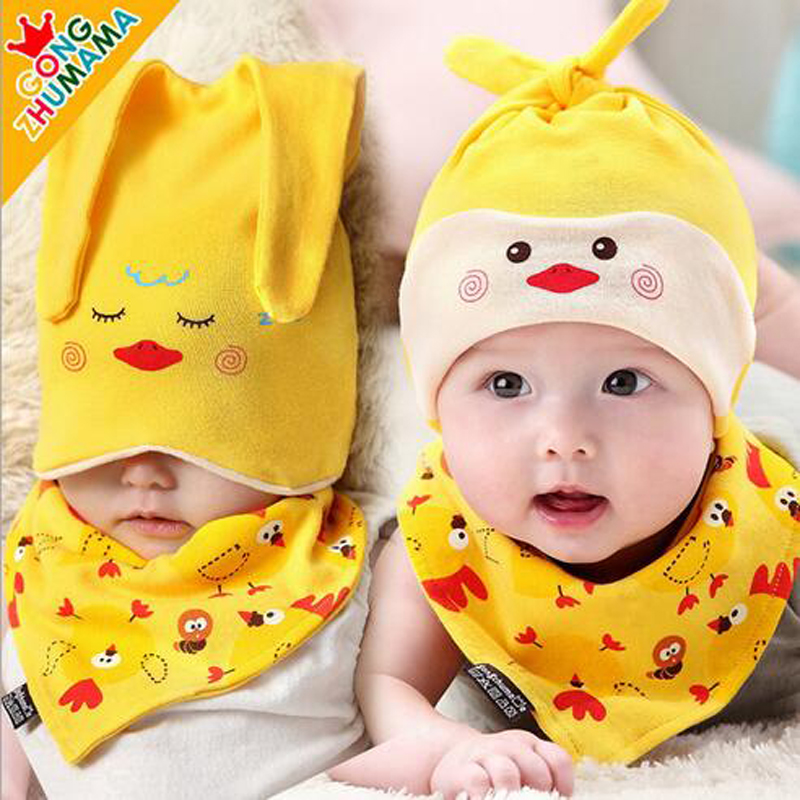 2016 Fashion Lovely Baby Sleep Beanie Hat Children Winter Warm Caps Cotton New Born Baby Triangle Scarf And Cap Set HT52028+30