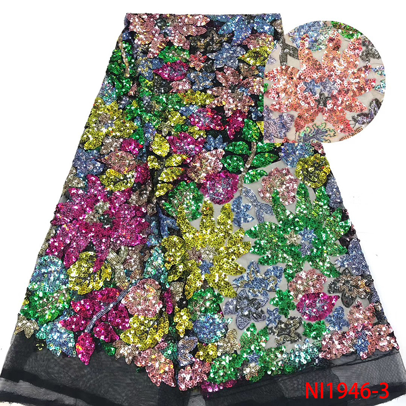 Sequins Lace Fabric High Quality African French Tulle Lace Fabric Embroidery For Sequins Lace  Nigeria Party Dress NI1946