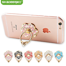 SC50 Universal Mobile Phone Diamond Rose Flower Finger Ring Holder For iPhone Samsung Phones Tablet Mount Dock Stand Accessory