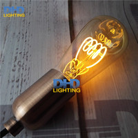 Tàu miễn phí ST64 Hổ Phách Hình Dạng, 4 Wát Dimmable Edison Xoắn Ốc Filament LED Bóng Đèn, Siêu ấm 2200 K, E27 Cơ Sở, Trang Trí Chiếu Sáng Gia Dụng