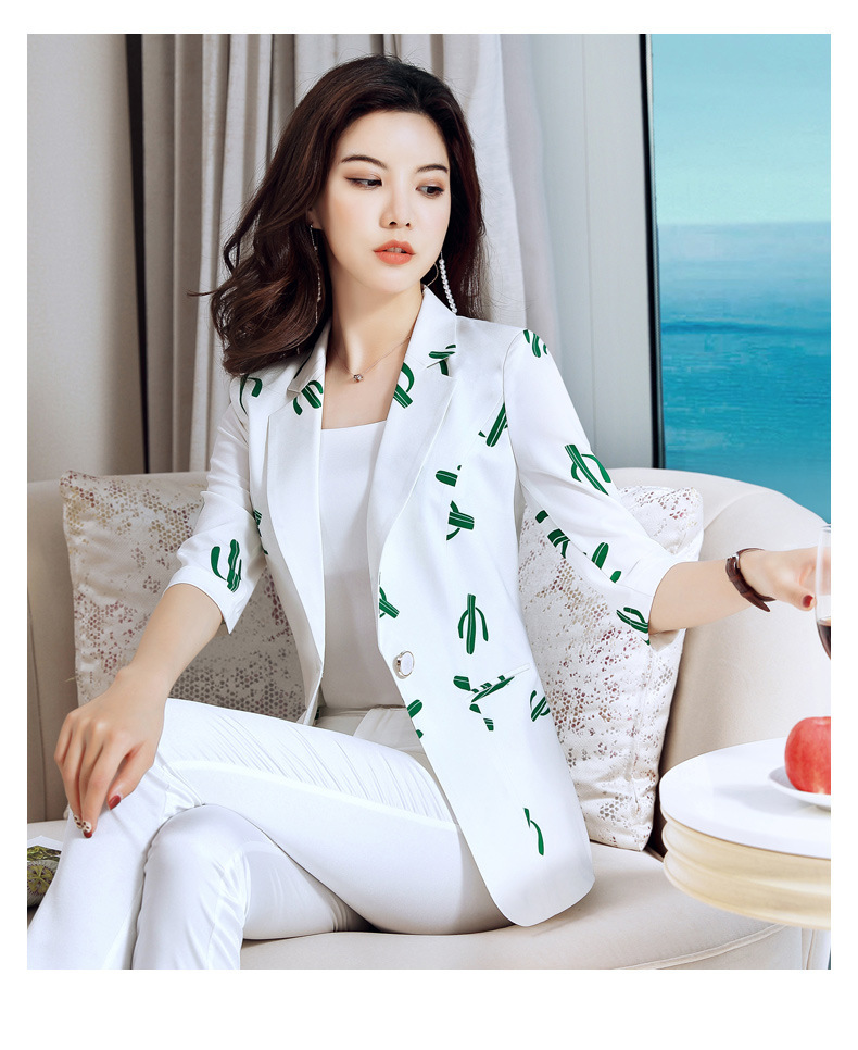 Suit Jacket Woman Cool Chiffon Printed Thin Temperament, Baitao Chao Korean Version Retro Spring And Autumn Small Suit