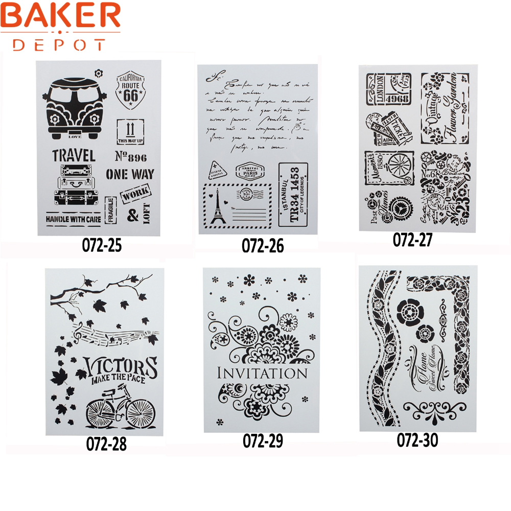 Bakeware Baker Depot Children Creative Graphic Leaf And Butterfly Drawing Stencil Diy Paint Mold Cake Decorating Tool 29.5*21cm Set Of 6 Home & Garden