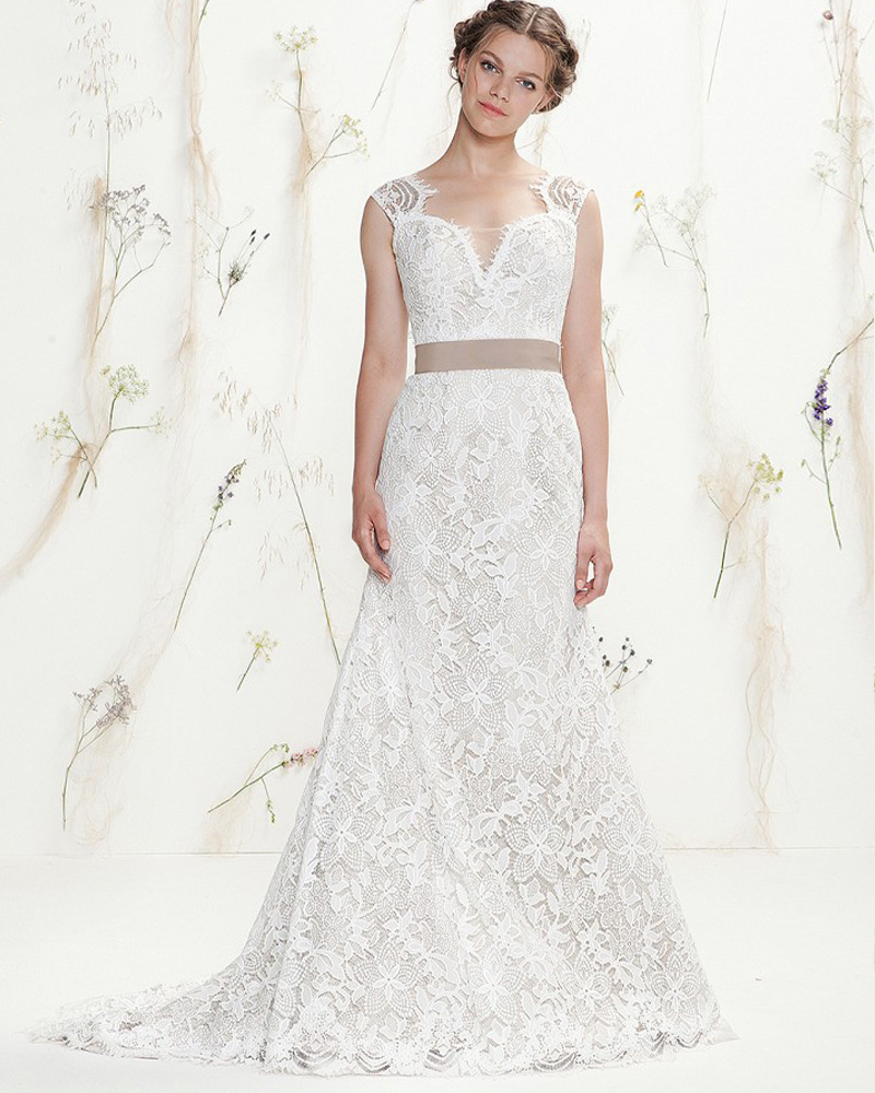 Amdml 2017 A Line Wedding Dresses Champagne Satin Sheer Ivory Tulle ...