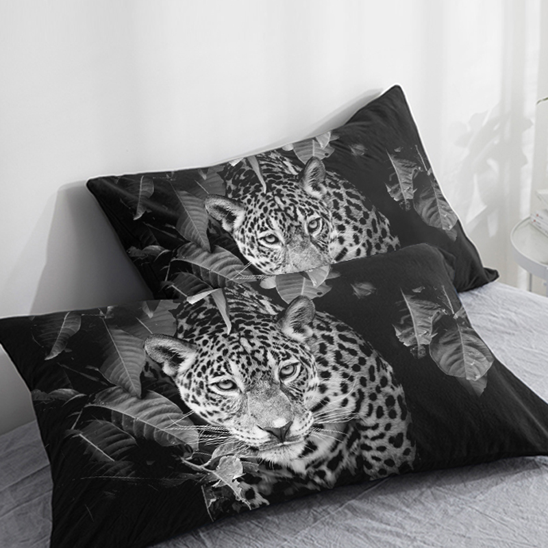 3D HD Custom Pillow Case,2PCS Pillowcase 50x70/50x75/50x80/70x70,Decorative Pillow Cover Animal White Leopard,Bedding Drop Ship