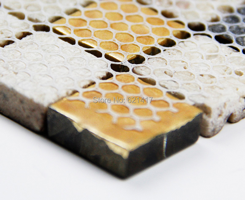 Vintage brown pietra di marmo a mosaico piastrelle per bagno