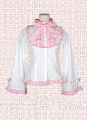 Rosa Kawaii Trim Mangas Trompetas Blanco Blanca Blusa Lolita 18qn5q