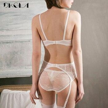 Embroidery Lingerie Set Women 1/2 Cup White Sexy Bra Set 3 Piece Bra+Panties+Garter Lace Brassiere Transparent Underwear Set 3