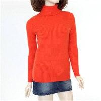 100% козья кашемир вертикальные зерна толстой вязки женщин тонкий пуловер свитер Высокий воротник orange красный 7 видов цветов S 3XL Розничная и о