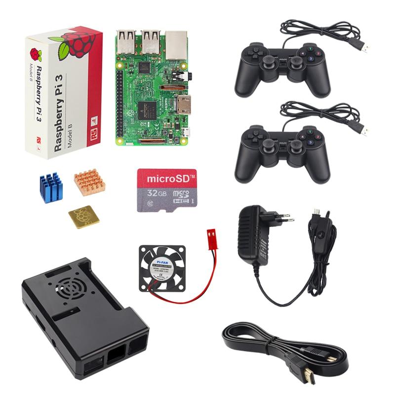 UK Raspberry Pi 3 Model B Game Kit 2 Game Controller 32G 16G SD Card Case