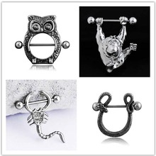 PAIR Stainless Steel Nipple Shield Ring Animal zodiac monkey / snake eagle centipede Piercing Barbell Jewelry  2pc