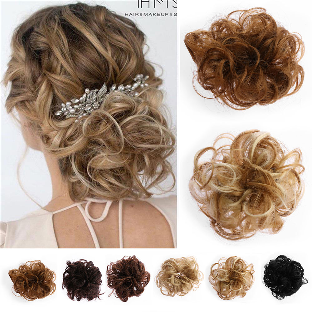 Women Messy Bun Curly Drawstring Hair Scrunchie Wave Hair Chignon Girl CWigs Extension Synthetic Hair Donut Hair Styling Tools