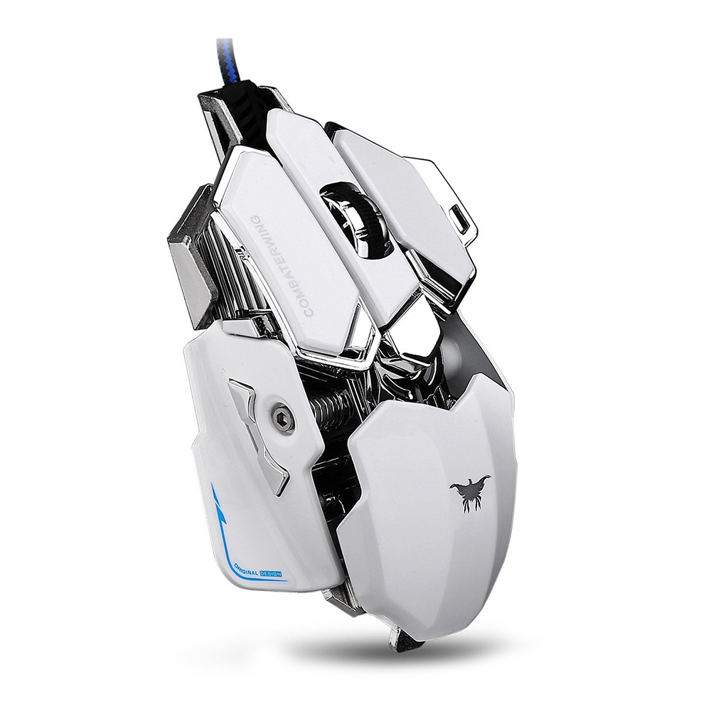 Combaterwing CW-80 4800 DPI Optical USB Wired Professional Gaming Mouse Programmable 10 Buttons RGB Breathing LED Mice - White