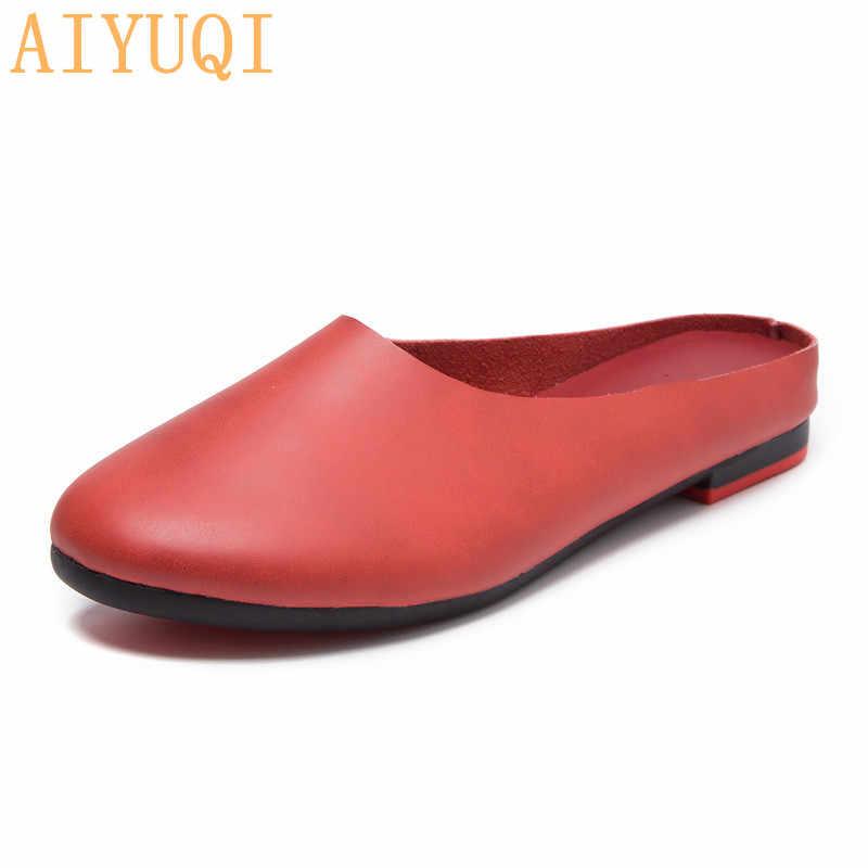 AIYUQI/женские шлепанцы; коллекция 2020 года; сезон весна; Новинка; женская обувь из натуральной кожи; большие размеры 41, 42, 43; повседневные летние женские тапочки на плоской подошве
