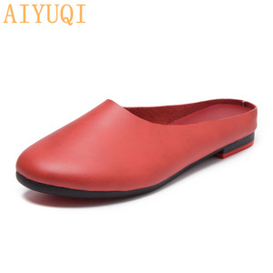 Image 4 - AIYUQI Frauen Hausschuhe 2020 Frühling Neue Echtem Leder Frauen Schuhe große Größe 41 42 43 Flache Beiläufige Sommer Halb Hausschuhe frauen