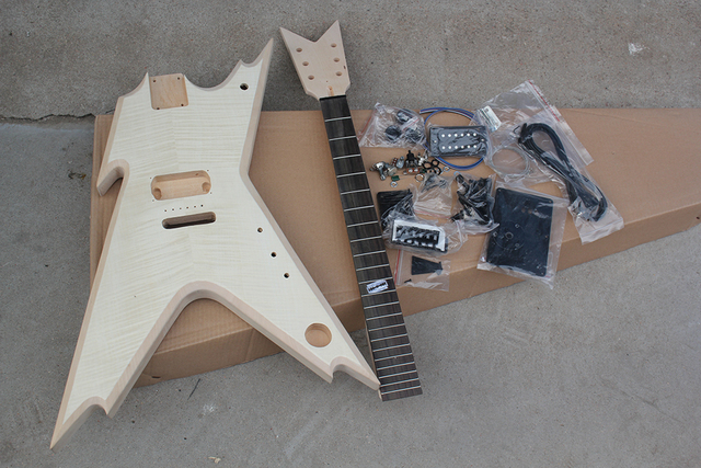 factory custom unusual shape electric guitar kit parts with basswood body flame maple veneer. Black Bedroom Furniture Sets. Home Design Ideas