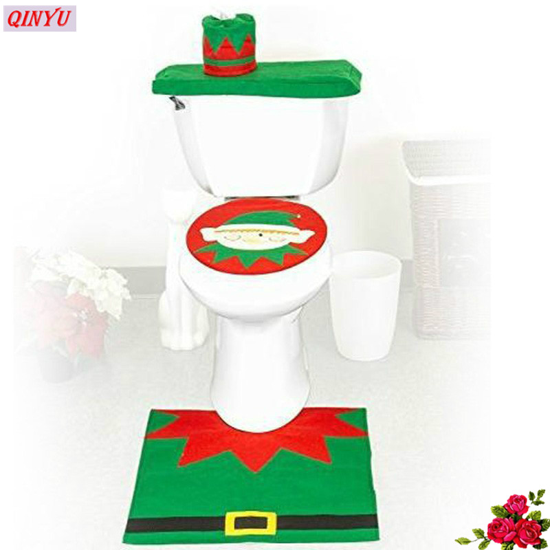 2017 Xmas Bathroom Ornaments Toilet 3 Pieces Set Toilet Cover + Foot Pad +  Water Tank