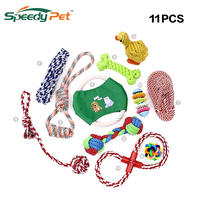 11 PCS Dog Toys Set Interactive Training Chew Toys Durable Rope Chew Squeaky Toy Value Pack for Small Puppy and Medium Doggie