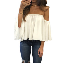 New 2017 Spring Summer Women Slash Neck Wrapped Chest Blouses Long Sleeved Chiffon Sexy Strapless Loose Vestido GV632