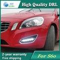 Frete grátis! 12 v 6000 k led drl daytime running luz para volvo s60 2013 nevoeiro quadro lâmpada luz de nevoeiro do carro styling