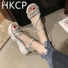 HKCP 2019 summer new rhinestones muffin sandals womens thick-soled open toe buckle Roman beach women C253