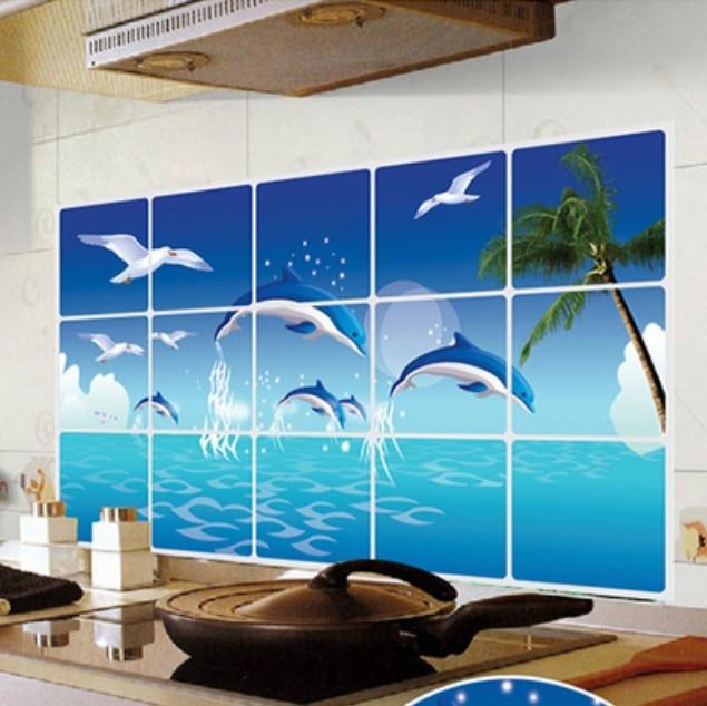 1 Stks Nieuwe Grote Hoge Temperatuur Aluminiumfolie Kachel Tegel Anti-olie Vuil Keuken Dolfijnen Marine Olie Stickers Van Het Grootste Gemak