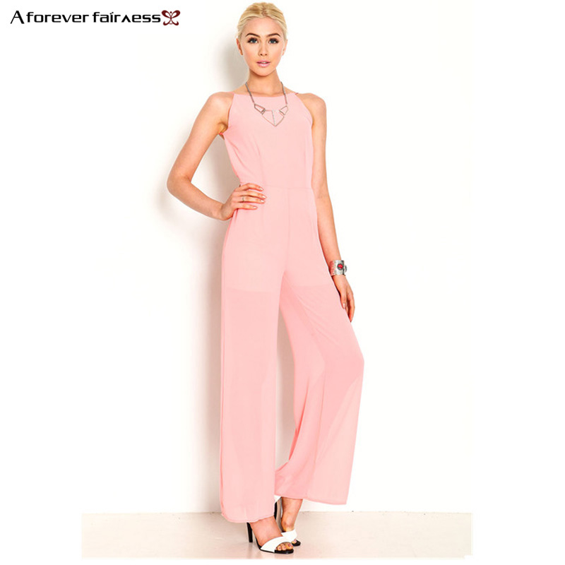 A Forever Fashion Women Jumpsuit Sleeveless Backless Elegant Chiffon Sexy Jumpsuit Slim Regular Long Jumpsuits Summer