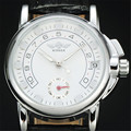 VENCEDOR Marca de luxo Da Forma das Mulheres de Prata Caixa de Aço Trevo Auto Data Mecânico Automático Couro Genuíno Strap Vestido de Relógios