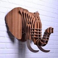 Nodic деревянный голова слона для Настенный декор, декор дерева головой животного, домашнее украшение, ремесел и искусств, резной объектов