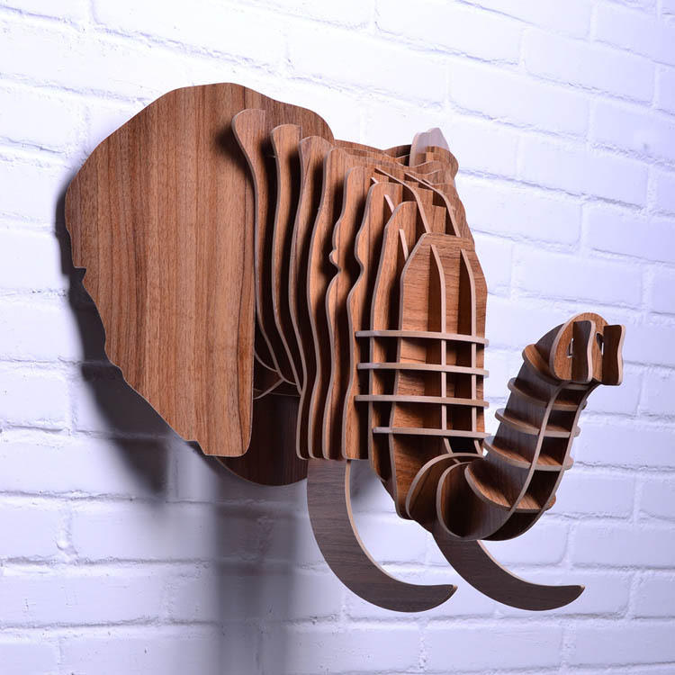 6ef489109 Nodic خشبية الفيل رئيس الجدار شنقا ديكور ، ديكور الخشب الحيوان رئيس ،  المنزل ، والحرف والفنون والخشب المنحوت الأجسام