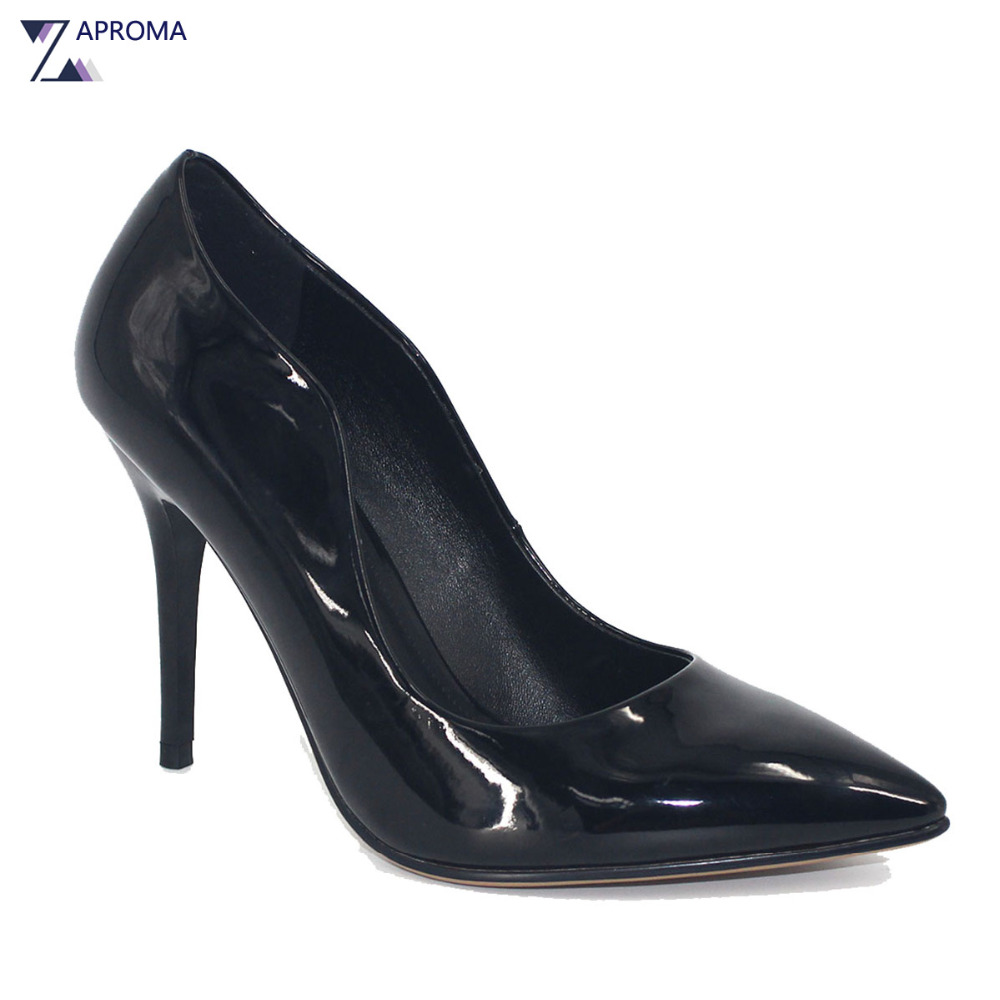 2018 Women Classic Shoes High Heel Slip On Point Toe Pumps Spring Thin Heel Ladies Shoe Red Black Patent Leather Stiletto Dress цена