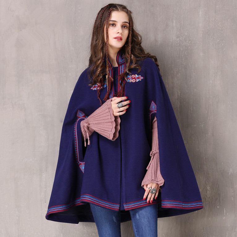 SIPAIYA Winter Coat Women 2017 Boho New Wool Cloak Casaco Feminino Vintage Floral Embroidery Stand Collar Thicken Warm Coats