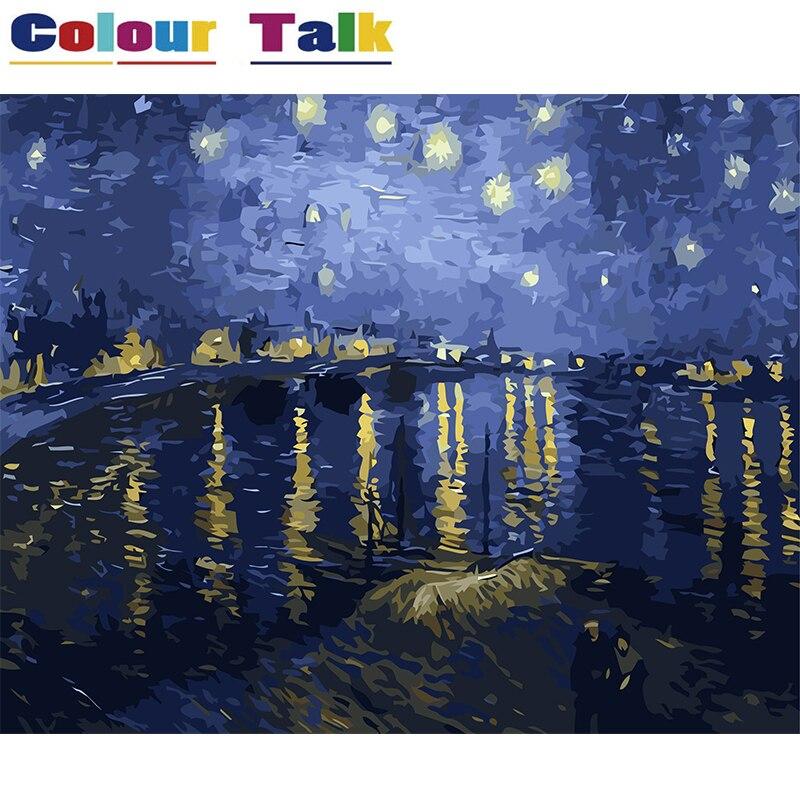DIY Digitales Ölgemälde durch Zahlen für Wohnzimmer Pictures Home Decor Sternennacht Über der Rhone Fluss durch Van Gogh P-0341