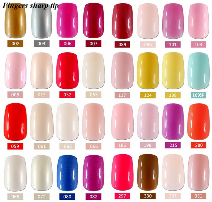 24 Pcs/set Fashion beautiful long fake nails, pure color nails a ...