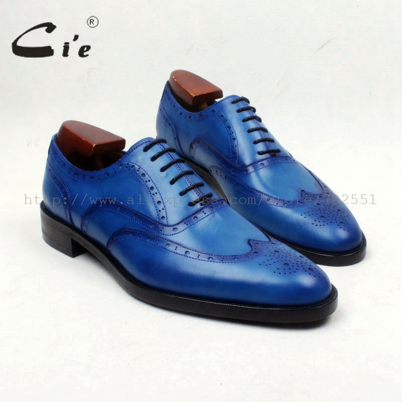 cie Round Toe Full Brogues Lace-Up Hand-Painted Brilliant Blue 100%Genuine Calf Leather Outsole Breathable Men's Shoe DressOX656 купить часы haas lt cie mfh211 zsa
