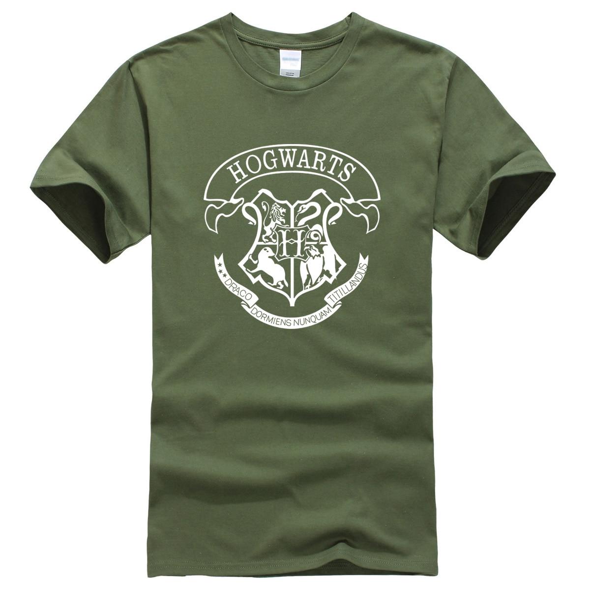 2019 Summer Men's T-shirts Hogwarts Printed Fashion Shirts Cotton T-shirt Brand Clothing Harajuku O-neck T Shirt Men Hip Hop Top