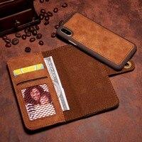 [Long Steven]For iPhone X Case Unique Detachable Leather Wallet Filp Magnet Adorption Back Cover For iPhone X Case Separate