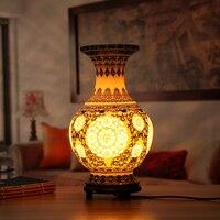 Blue Hollow Out Vase Porcelain Table Lamps Wood Base For Living Room Bedroom Ceramic Desk Lights