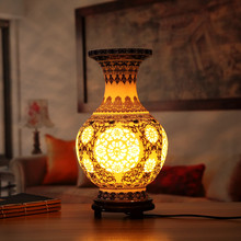Blue Hollow-out Vase Porcelain Table Lamps Wood Base for Living Room/Bedroom Ceramic Desk Lights Lustre,E27 110-220V TLL-426(China)
