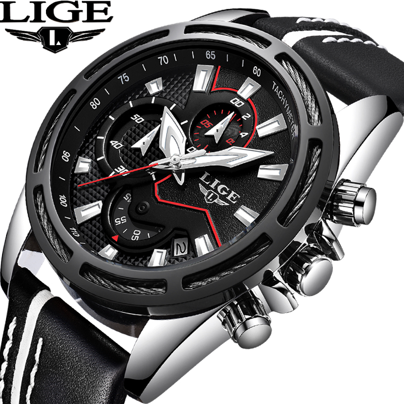 где купить LIGE Mens Watches Top Brand Luxury Men's Sports Watch Mens Waterproof Military Leather Watch Watch Men Relogio Masculino+Box по лучшей цене