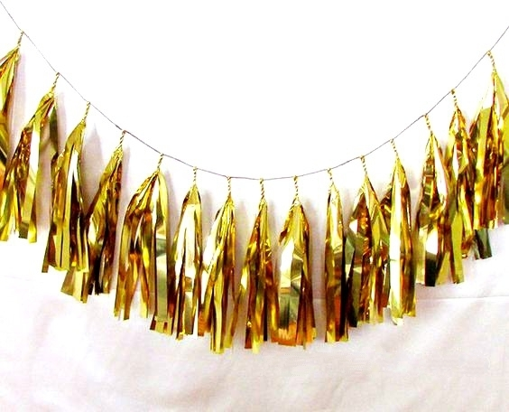15pcs Shimmer and Shine Party Decorations Smooth and Gold Foil Tassels Fringe Bunting Garland Wedding Birthday Showers Decor