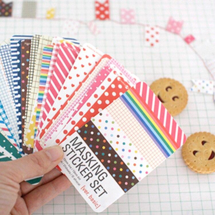 Scrapbooking 27 PCS Washi Kit Basic Masking Tape Craft Stickers Pack Decorative Labelling Art Adhesives