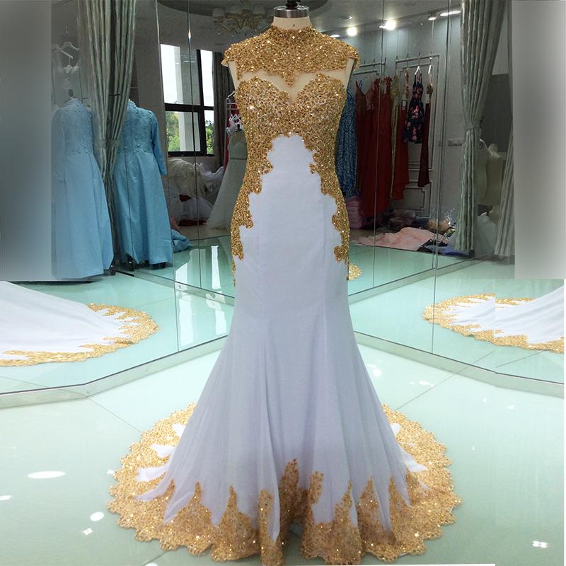Элегантные мусульманские Вечерние платья с золотой вышивкой