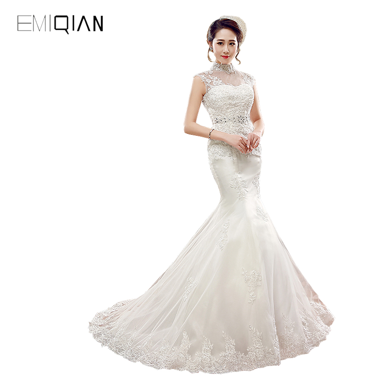 Real Photos Mermaid High Neckline Lace Wedding Dresses