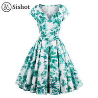 Sishot Women Vintage Dresses Green Print White V Neck Sexy Party Dress Sleeveless Knee Length Summer