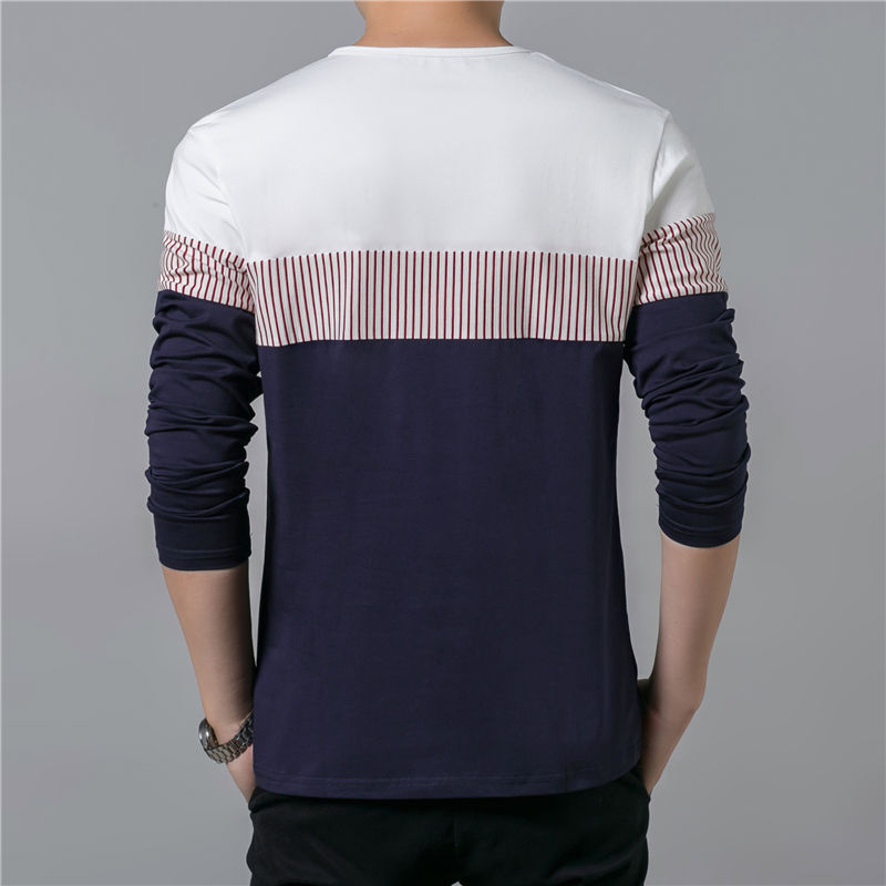 COODRONY T-Shirt Men 17 Spring Summer New Long Sleeve O-Neck T Shirt Men Brand Clothing Fashion Patchwork Cotton Tee Tops 7622 13
