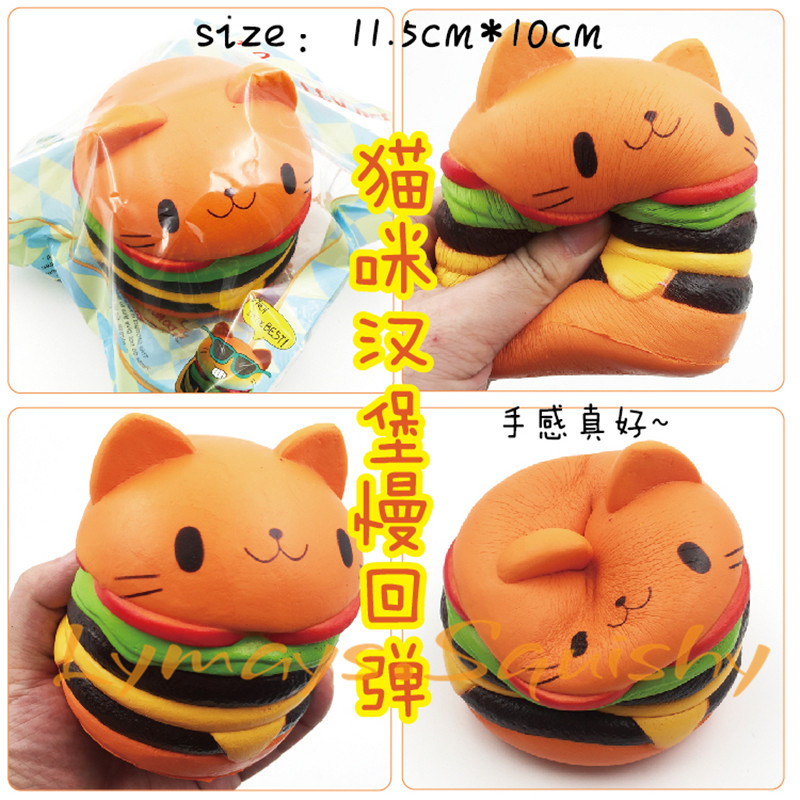 Squishy Cat Hamburger Slow Rising Gag Toys For Children Kawaii Wholesale Squishies Jumbo Squishy Stress Relief Toys Novelty