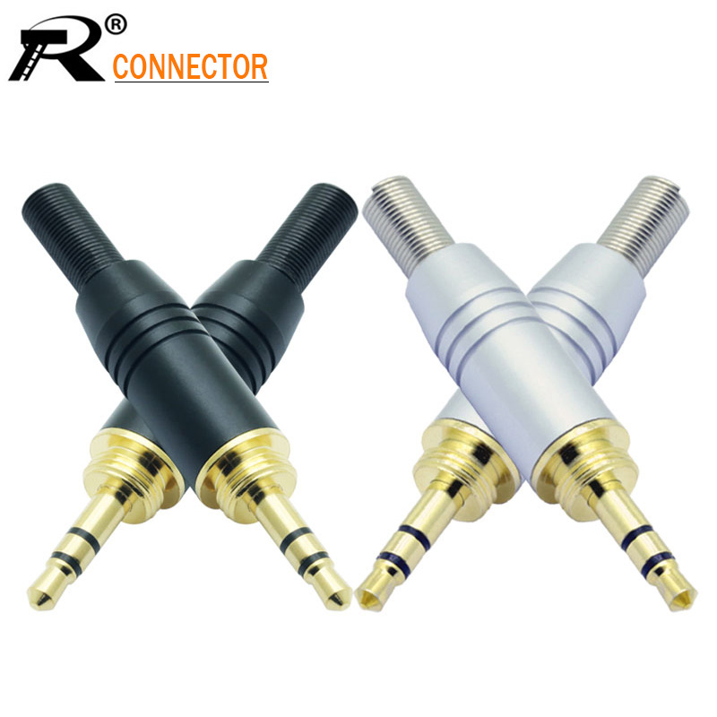 1pc Aluminum Assembly 3.5mm Jack Male Screw Plug  Wire Connector Gold-plated 3.5mm 3pole Stereo Audio Speaker Plug With Spring