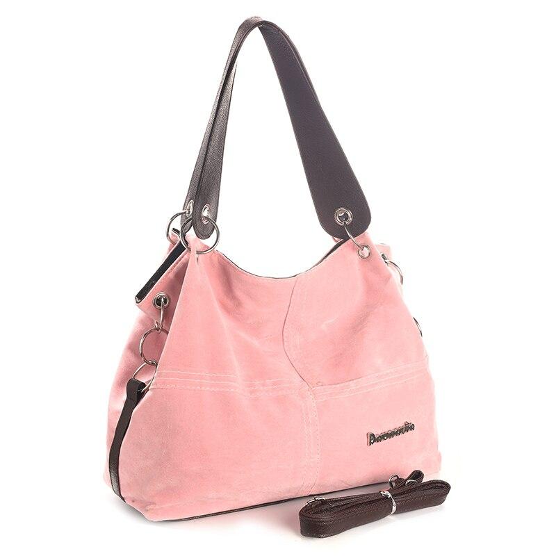 Daunavia фирменные сумки из натуральной кожи женские большие сумки Высокое качество Женские сумки через плечо, сумки с высокой ручкой, из мягкого вельвета винтажная Сумка-тоут - Цвет: Розовый